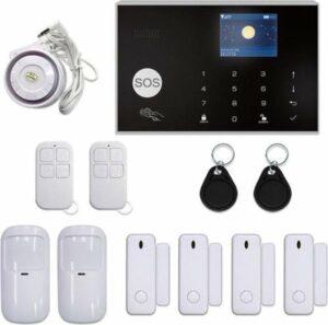 Draadloos Alarmsysteem Touch - 4 Deur-Raamsensoren - 2 Bewegingssensoren - 2 Afstandsbedieningen - 2 RFID Hangers - Bedrade Sirene